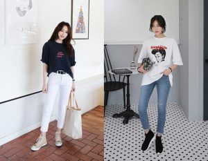 Mẫu tham khảo áo thun form rộng phối cùng với quần jean
