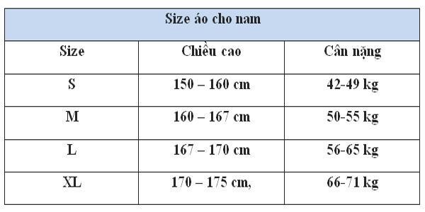 Kích thước ao thun tham khảo