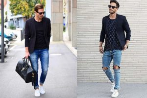 quần Jean xanh kết hợp cùng với áo thun đen