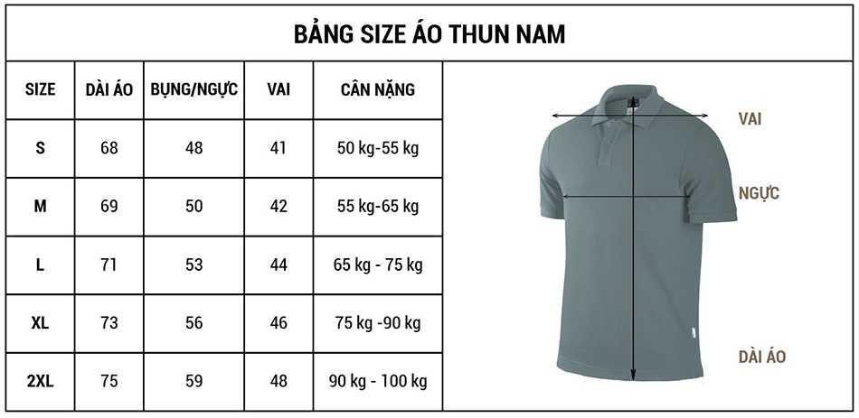 bảng size áo thun nam
