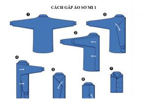 cách gấp áo somi để trong tủ đồ