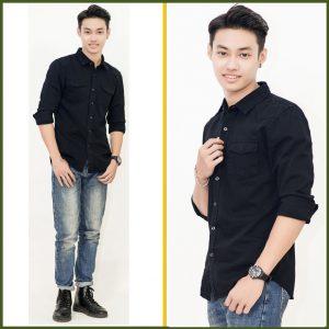 áo somi đen với quần jean