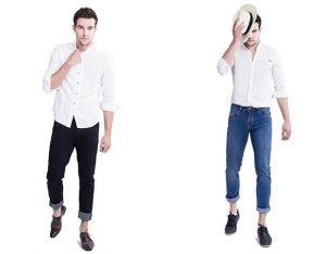 áo somi cổ trụ cùng quần jean
